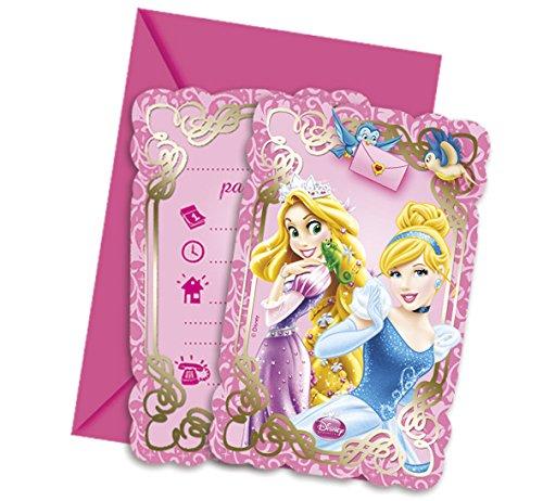 Ciao Procos 82650–Einladungskarten mit Umschlag Disney Princess & Animals, 6Stück, Pink