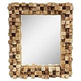 Dekorativer Spiegel mit Holzrahmen Mosaik Wandspiegel aus Thailand Massiv Würfel Holz-Spiegel...