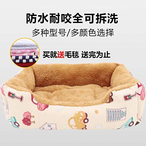 Cama para Mascotas, con una Alfombra Suave para Mascotas, Cama para Gatos Perros, Cama Suave de Felpa de tamaño Mediano -Fresco y Sencillo_S