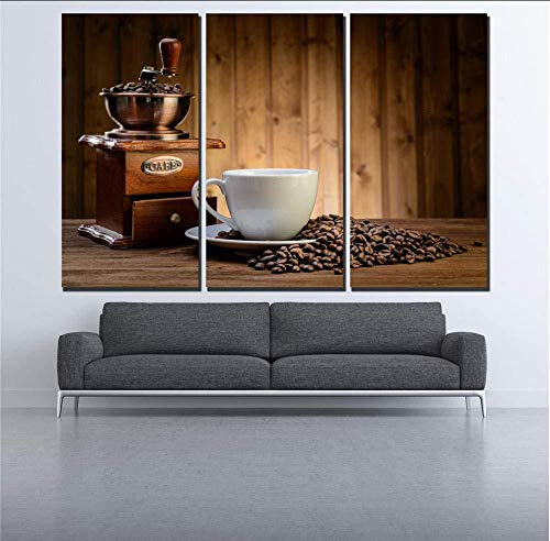 Suwhao 3 Stks Café Koffiemachine en Koffiebonen Canvas Schilderij Wanddecoratie Foto's voor Bar Pube Café Woonkamer