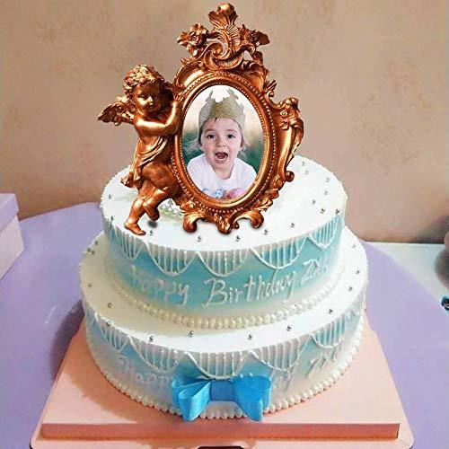 Molde de silicona para marco de fotos con forma de ángel, para decoración de tartas de boda, decoración de tartas