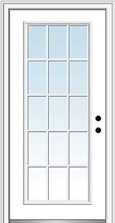National Door Company Z000725L Steel Primed, Left Hand in-Swing, Prehung Front Door, 15 Lite External Grilles, Clear Glass, 30