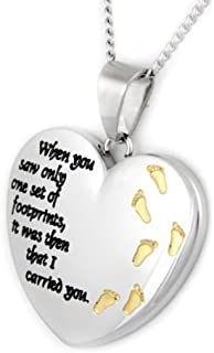 Rush Industries Heart Shaped Footprints Prayer Pendant with Gold Colored Footprints - Heart Necklace - 12 Step Gifts