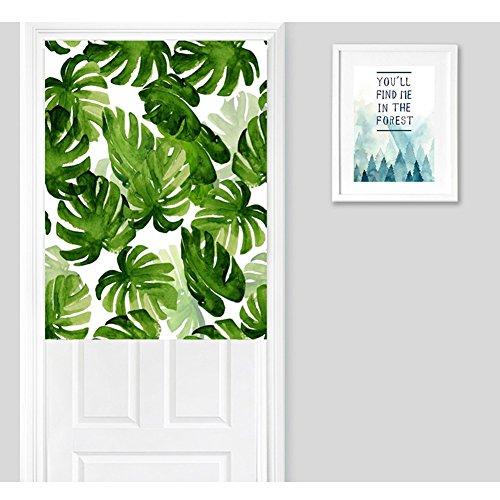 Frisse groene palm bladeren druk deur gordijn natuur plant ruimteverdeler blad katoen linnen gordijn slaapkamer decoratie opening gordijn 33.5 * 47in multicolor
