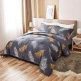 Peach Leaf Comforter Set - 100% Cotton 3 Pieces Bedding Set - Queen Size - Cooper Feather…