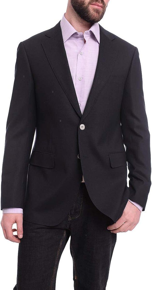 Napoli Slim Fit Navy Blue Textured Two Button Half Canvassed Zegna Wool Blazer