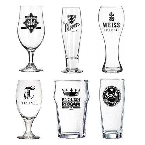 Balvi Set Bicchieri Birra L´Hedoniste Colore Trasparente Set di 6 Bicchieri di Birra Progettare Birra Belga, Ale tra Le Altre Vernici vetri Decorativi per Gli Amanti della Birra Vetro 22x7,5x7,5 cm