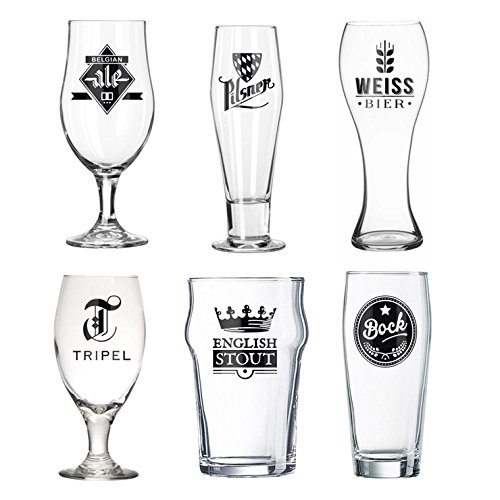 Balvi Set Vasos Cerveza L´Hedoniste Color Transparentes Set de 6 Copas de Cerveza Diseño Cerveza Belga, Pinta Inglesa Entre Otros Vasos Decorativos para los Amantes de la Cerveza Vidrio 22x7,5x7,5 cm