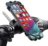 QueenDer Soporte Movil Bicicleta, Soporte Movil Moto 360° Rotación Anti Vibración Universal Ajustable Silicona Teléfonos Soporte Montaña Bici Compatible para iPhone Samsung Xiaomi Huawei (4,5'-6,5')