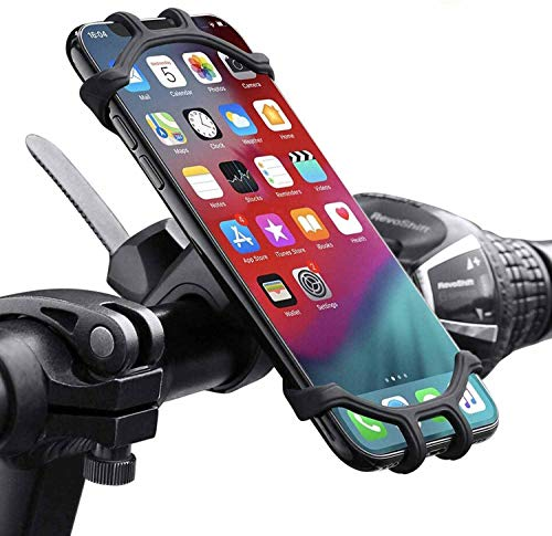 """QueenDer Soporte Movil Bicicleta, Soporte Movil Moto 360° Rotación Anti Vibración Universal Ajustable Silicona Teléfonos Soporte Montaña Bici Compatible para iPhone Samsung Xiaomi Huawei (4,5""""-6,5"""")"""