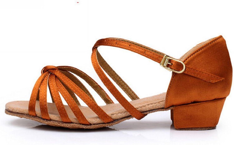 Leslie Li Women's General Comfortable Strappy Dance shoes Ballroom Salsa DS-10-bro Size 6 Brown