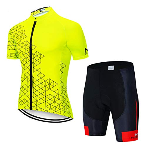 QWA Men's Short Sleeve Breathable MTB Cycling Jersey Reflective 3 Pocket, Quick-Dry Bike Clothing Bib Shorts Suits Mountain Bicycle Clothes (Color : Yellow 1, Size : C(M))