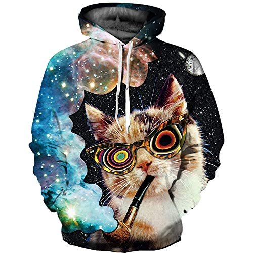 XINGMU 3D Gedrucktes Sweatshirt Hoodie Und Sweatshirt 3D Rauchende Katze Langärmliges Kleid Pullover L