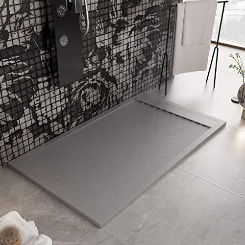 Luminosa Arredo Bagno Plato de ducha de resina de 160 x 70 cm – Efecto piedra antideslizante con Gelcoat – Modelo Luxury gris claro – Rejilla de color liso y desagüe incluidos