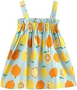 Niños pequeños Bebés Bebés Limón Sin Mangas Correa Princesa Vestidos Trajes