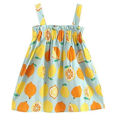 K-youth® Vestido Sin Mangas de Princesa con Estampado de limón para niños Vestido de Tirantes Niña Verano Recien Nacido Ropa Niña Bebe Fiesta Playa (Azul, 4-5 años)