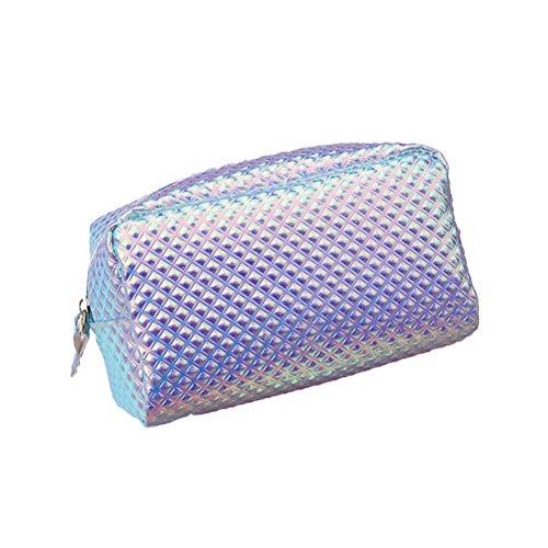 Beaupretty Zipper PU trousse de maquillage, sac cosmétique échelle holographique sac de toilette sac de voyage Protable organisateur de sac à main étanche (bleu)