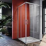 SONNI Duschkabine 90x90cm Eckeinstieg Duschabtrennung Dusche Schiebetür Duschwand Sicherheitsglas Höhe 185cm