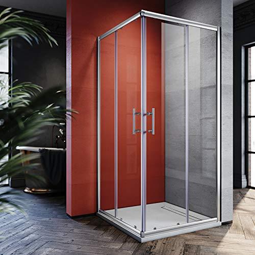 SONNI 80x80cm Eckeinstieg Duschkabine Sicherheitsglas Schiebetür Eckdusche Duschabtrennung Duschschiebetür Glas