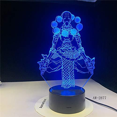Diseño de arte único Anime LED Luz de noche 3D Guerrero Juego de luz Lámpara de gradiente de sueño Luz Visual Regalo 3D Lámpara de mesa pequeña
