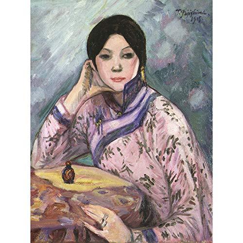 Fujishima Vrouw Met Parfum Schilderen Bijgesneden Grote Ingelijste Art Print