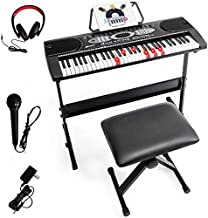 Costzon 61-key Electronic Keyboard w/Lighted Key, LED Screen, 3 Teaching Mode, Recorder, Built-In Speakers, Portable Full-size Digital Piano Keyboard w/Adjustable Stand, Bench (Black)