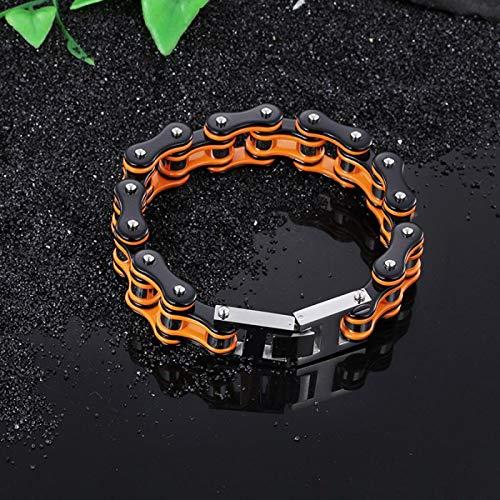 FEIYI Brazalete de cadena de bicicleta pulseras y brazaletes naranja punk moto cadena hombre pulsera de acero inoxidable pulsera de cuero negro para hombre
