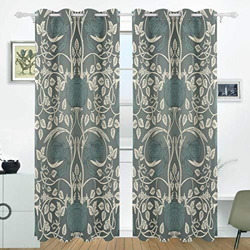 Eastery William Morris Vorhänge Panels Verdunklung Blackout Tülle Raumteiler Für Terrasse Einfacher Stil Fenster Glas Schiebetür Tür 139,7 X 213,4 cm Set Von 2 (Color : Colour, Size : Size)