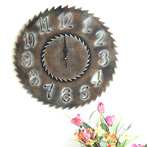 FLSM Retro Industrie Wind Holz Getriebe Sägeblatt Uhr Home Bar Wandaufkleber Wanduhr Getriebe Ornament 5 40 cm