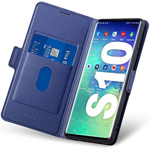 Coque Samsung S10 Rabat, Housse S10, Étui Samsung S10, Coque Portefeuille Samsung S10, Galaxy S10 Coque Clapet Avec Emplacement Carte, Fermeture Magnétique, Flip/Folio Phone Case, Cuir Protection.Bleu