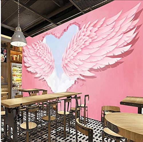 Whwd Moda Moderna 3D Pink Heart Alas De Ángel Decoración Industrial Mural De Pared Búsqueda En Línea Caliente Cafe Cafe Postre Comprar Fondo De Pantalla-280X200Cm