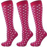 Mysocks 3 Paare Kinder Kniestrümpfe Socken Star Fuchsie