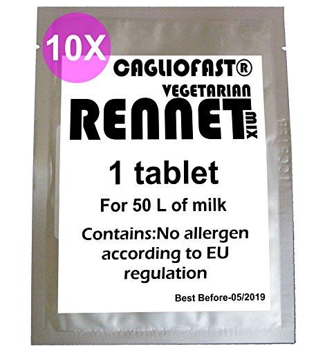 10 x CAGLIO FAST Tablet Cuajo Vegetariano Para 500 L Leche …
