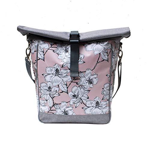 IKURI Fahrradtasche für Gepäckträger Satteltasche Einzeltasche Packtasche, abnehmbar, mit Tragegurt zum Umhängen, aus Plane, für Damen, Wasserdicht, Modell Magnolia