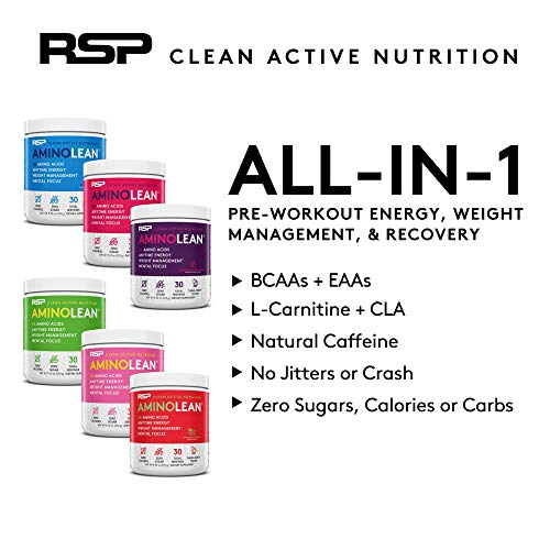 RSP AminoLean - All-in-One Pre Workout, Amino Energy, Weight Management Supplement with Amino Acids, Complete Preworkout Energy for Men & Women, Watermelon, 30 (Packaging May Vary) 5