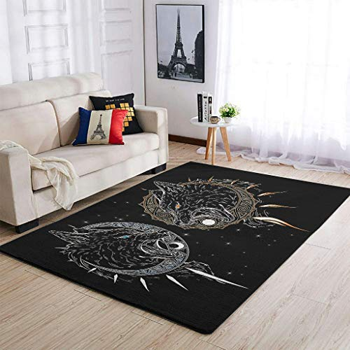 YOUYO Spark Alfombra Viking Skoll and Hati antideslizante - Hermosa alfombra para dormitorio blanco 50 x 80 cm