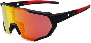 Gafas Ciclismo CE Certificación Polarizadas con 3 Lentes Intercambiables UV 400 Gafas,Corriendo,Moto MTB Bicicleta Montaña,Camping y Actividades al Aire Libre para Hombres y Mujeres TR-90