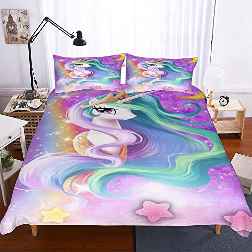 AHJJK Duvet cover set 87 x 94 inchUnicorn girl 3D Printed Microfiber Bedding Duvet Cover with 2x Pillowcases & Zipper Closure Quilt Case for Boy Girl Single Double King Bed