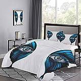 UNOSEKS LANZON juego de funda de edredón realista ojo femenino en alas de mariposa mágicas maquillaje artístico mascarada niños juegos de cama ultra suave y duradero azul negro blanco, tamaño doble