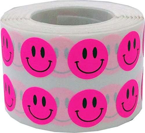 Fluorescent Pink Happy Face Labels 0.50 Inch 1,000 Total Adhesive Stickers