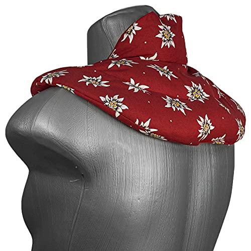 Coussin de nuque avec col montant - - Coussin aux noyaux de cerises - Coussin épaules et cou - Coussin chauffant, chaud ou froid (Design: fleur d´edelweiss bordeaux)