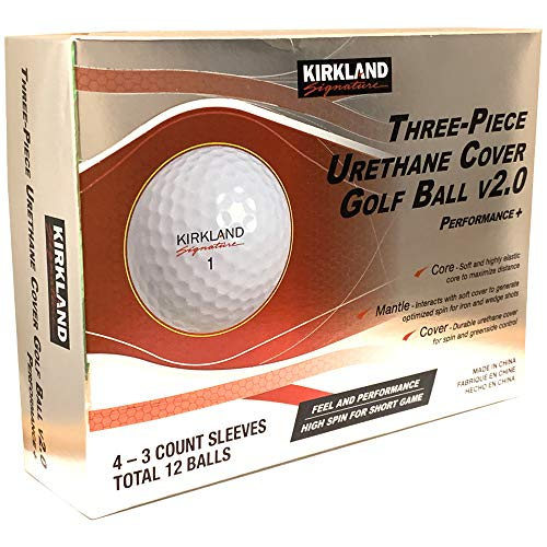 KIRKLAND SIGNATURE Three-Piece Urethane Cover Golf Ball v2.0, 1 Dozen, 12 Count, White