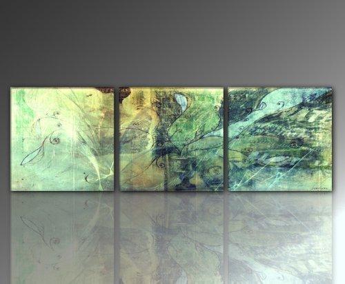 3 teiliges WANDBILD Leinwandbild (unio-3teilig-50x50 - Gesamt: 160x50cm) Fra abstrakt grün traumhaft Bilder fertig gerahmt mit Keilrahmen riesig. Ausführung Kunstdruck auf Leinwand. TOP MODERN BESTE QUALITÄT