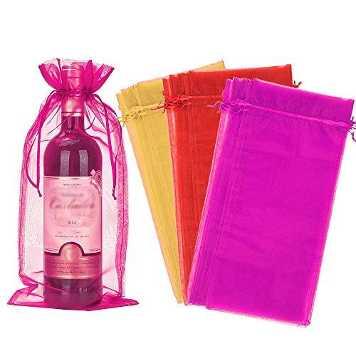 PERFETSELL 30 Stück Weintasche Bunte Weinflasche Geschenkverpackung mit Kordelzug Wein Tasche Geschenkbeutel Säckchen Organzabeutel Organzasäckchen für Wein Champagner Hochzeit Weihnachten Party