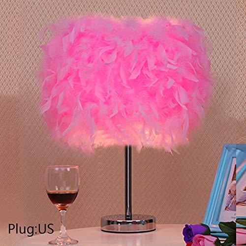 Feather - Lámpara de mesa con plug-in, decoración, luz nocturna, plumas, vintage, para dormitorio, niños, boda, cumpleaños, noche de lectura, salón