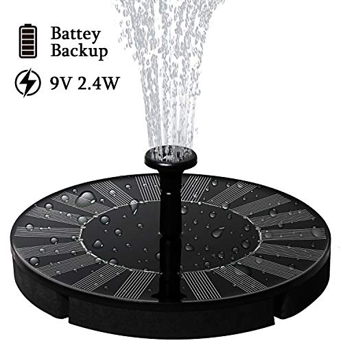 lailme Solar Fountain,Solar Powered Fountain Pump for Bird Bath, New Model Solar Water Fountain Pump 9V 2.4W with Battery Back,4 Different Spray Pattern Heads for Pool, Garden, Pond, Fish
