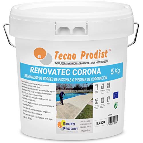 RENOVATEC CORONA de Tecno Prodist - (5 kg) BLANCO Pintura para renovar bordes de piscinas o piedra de coronación - Antideslizante - Antialgas - Buena Calidad - Fácil Aplicación
