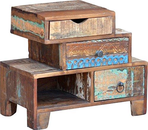 Guru-Shop Ladekast met 3 Lades in Vintage Uitvoering - Model 8, Bruin, 50x60x33 cm, Kleine Kasten