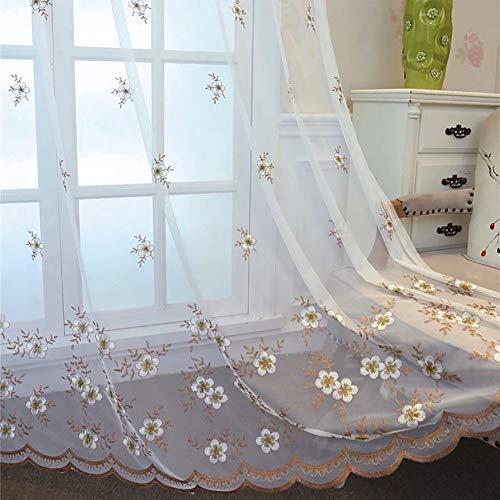 HM&DX Pflaume Floral Bestickt Voile Gardinen ösen,1 Panel Voile Vorhänge Dekorative,Eleganz Tüll-vorhänge Wohnzimmer Schlafzimmer Khaki 350x270cm(138x106in)