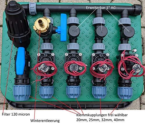 Kopfstation, Verteiler, Beregung mit Hunter Magnetventile PGV 101 und Jumbobox, Größe: 4 Magnetventile